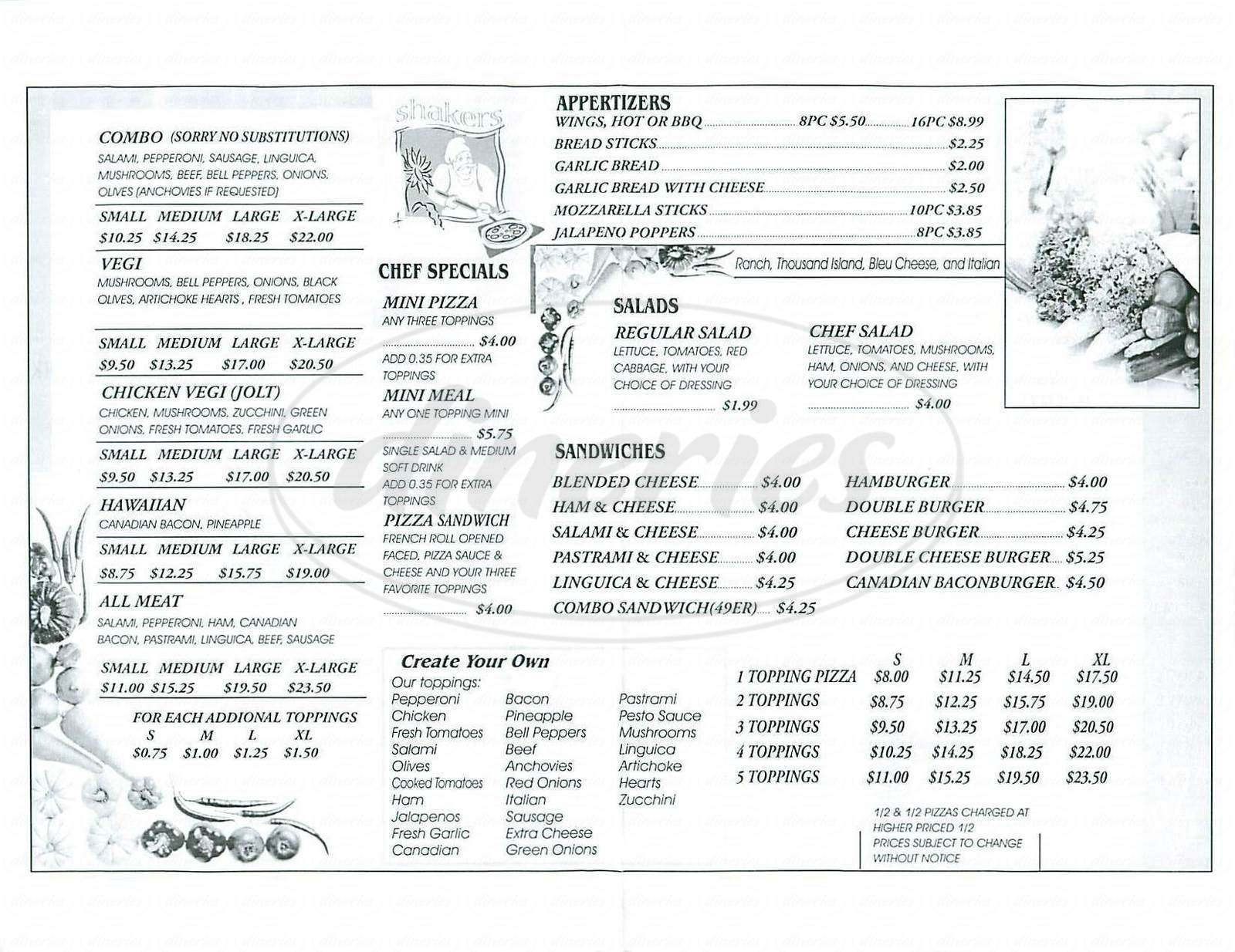 menu for Shakers Pizza