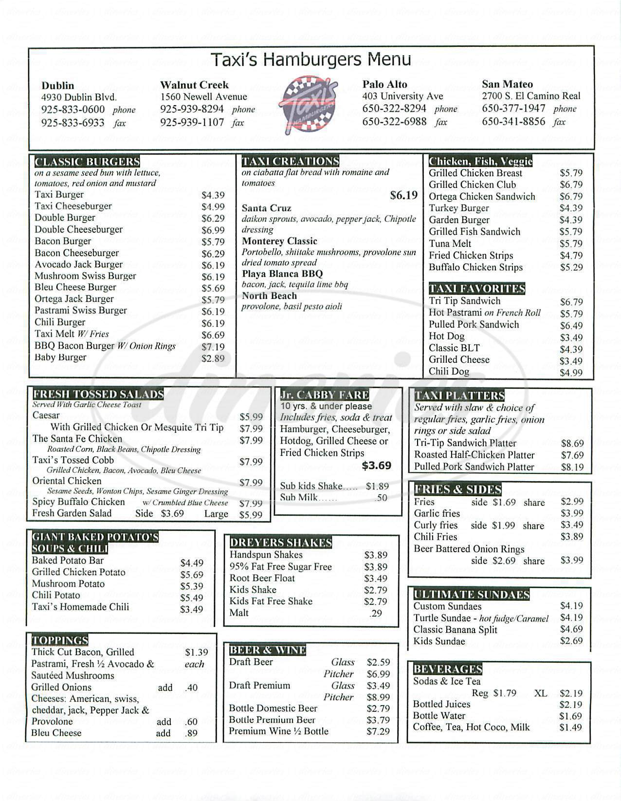 menu for Taxis Hamburgers