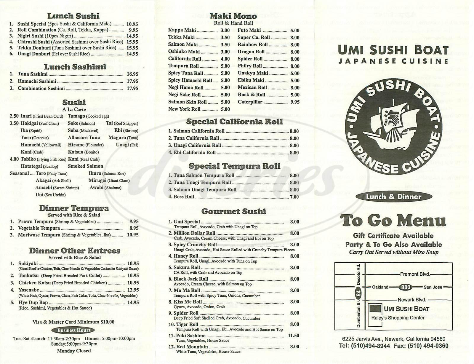 menu for Umi Sushi Boat