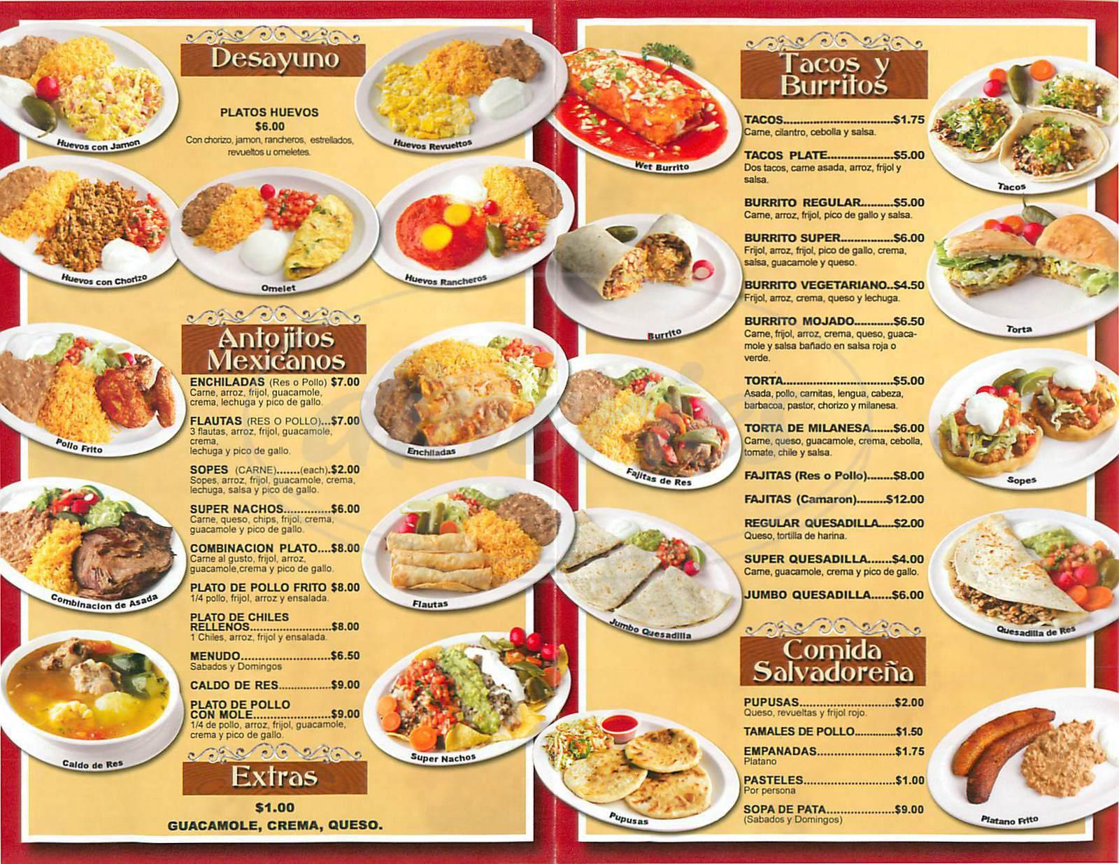 menu for Jennifer Taqueria