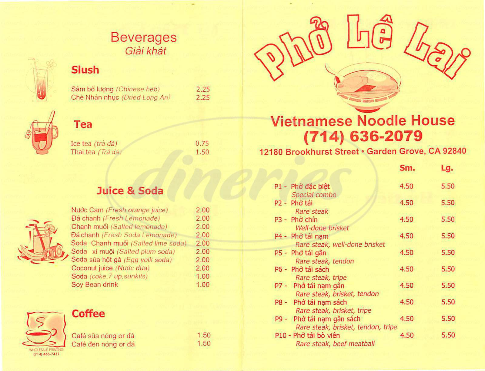 menu for Pho Le Lai