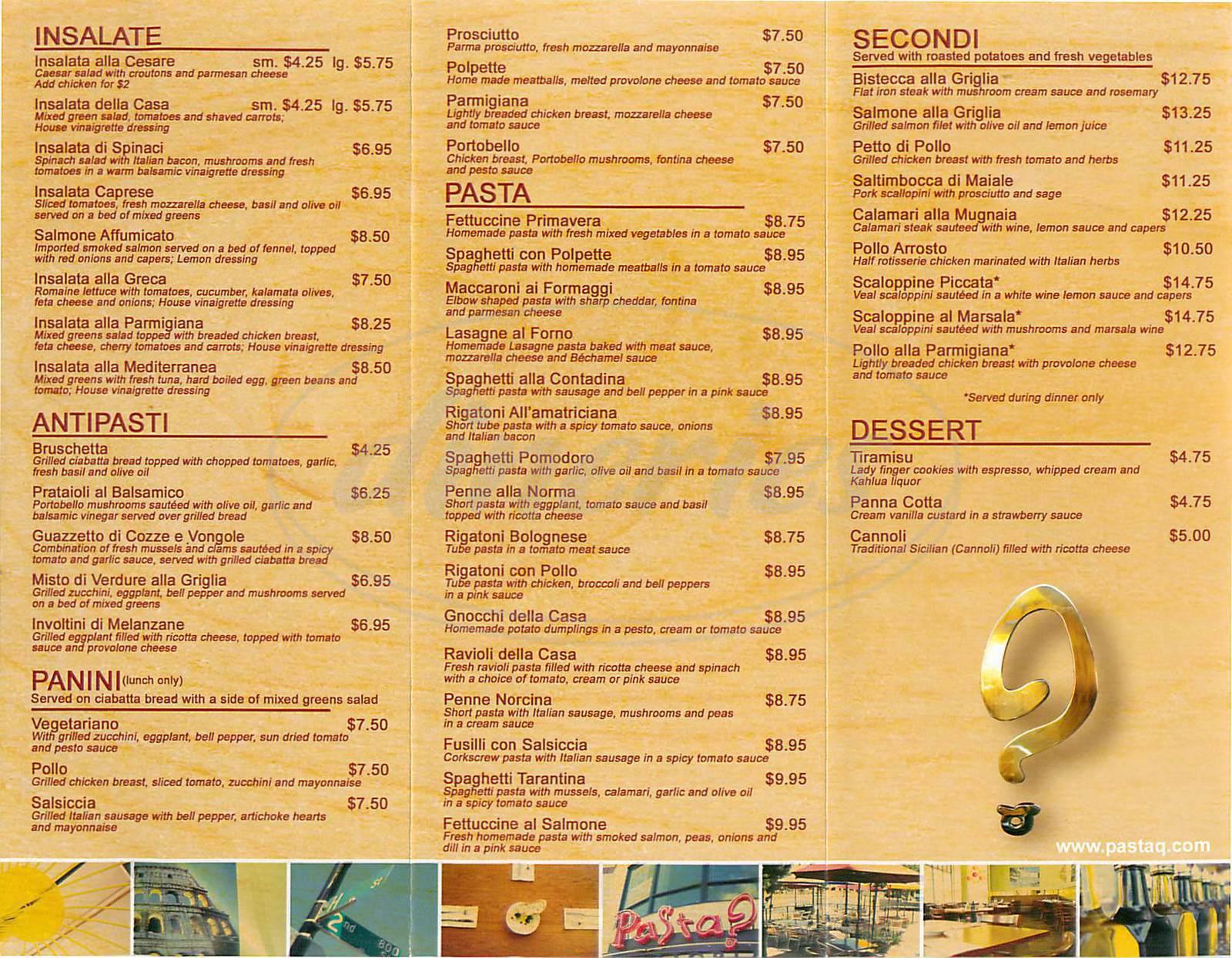 menu for Pasta?