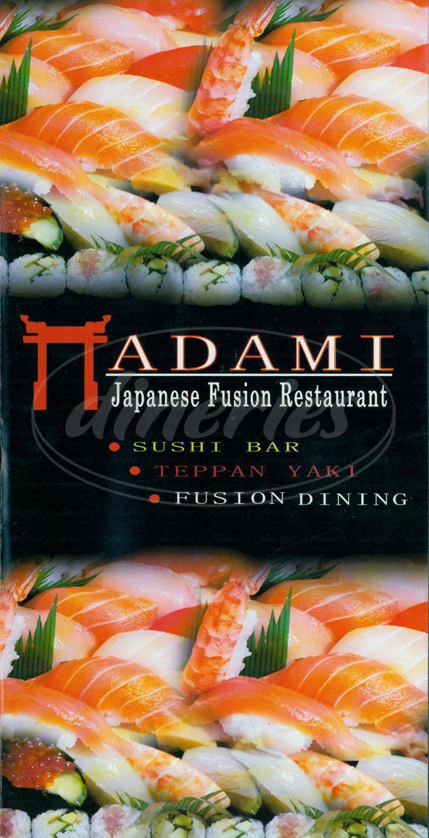 menu for Adami Japanese Restaurant