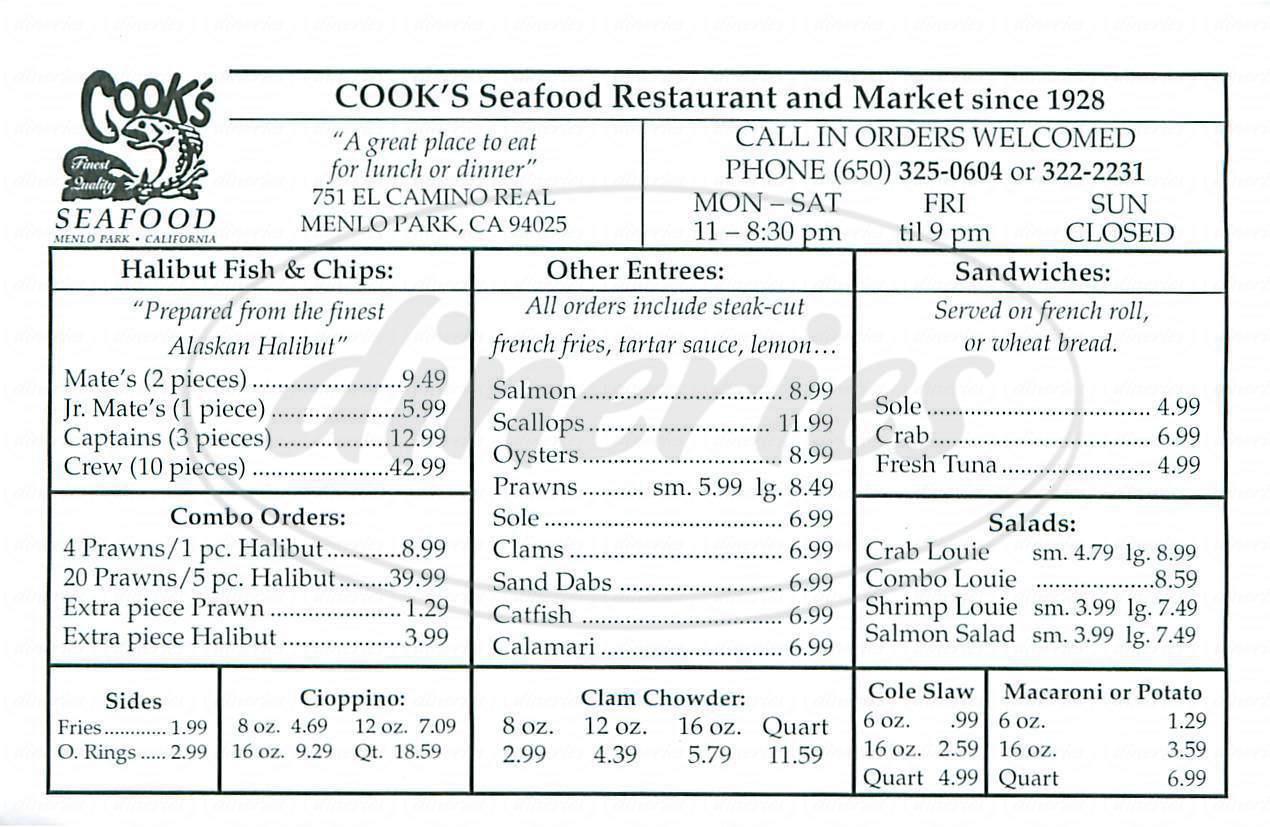 menu for Cooks Seafood Restaurant & Market