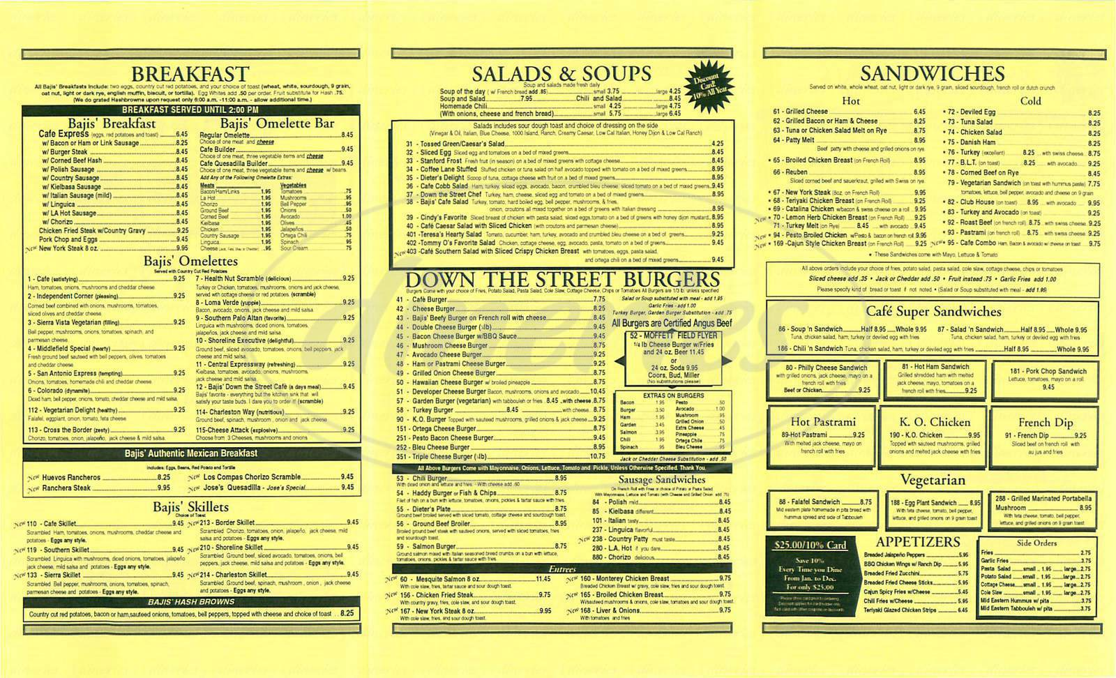 menu for Bajis' Down The Street Café