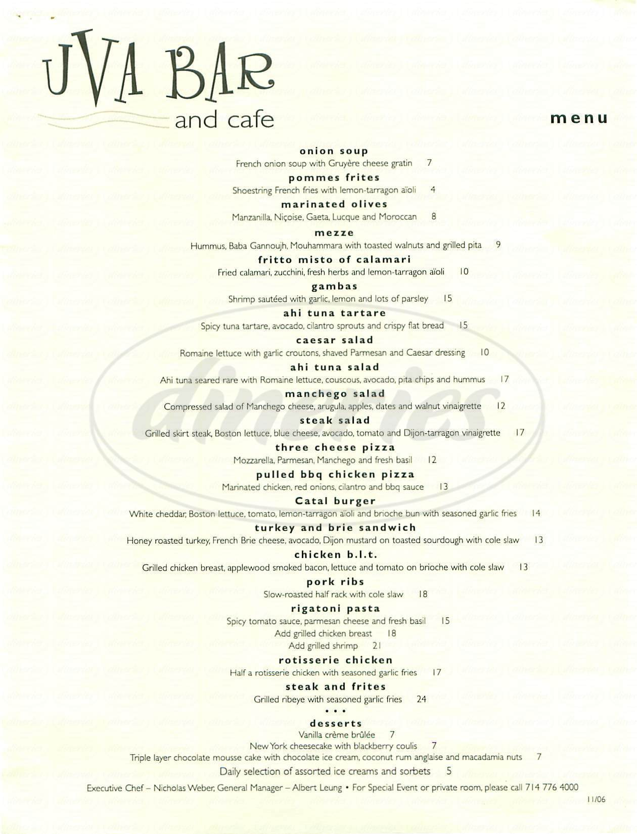 menu for Catal Restaurant & Uva Bar
