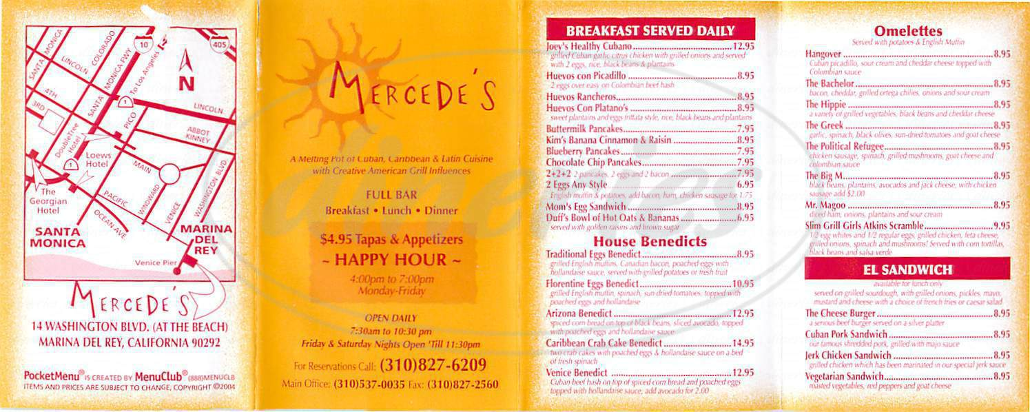 menu for Mercedes Grill