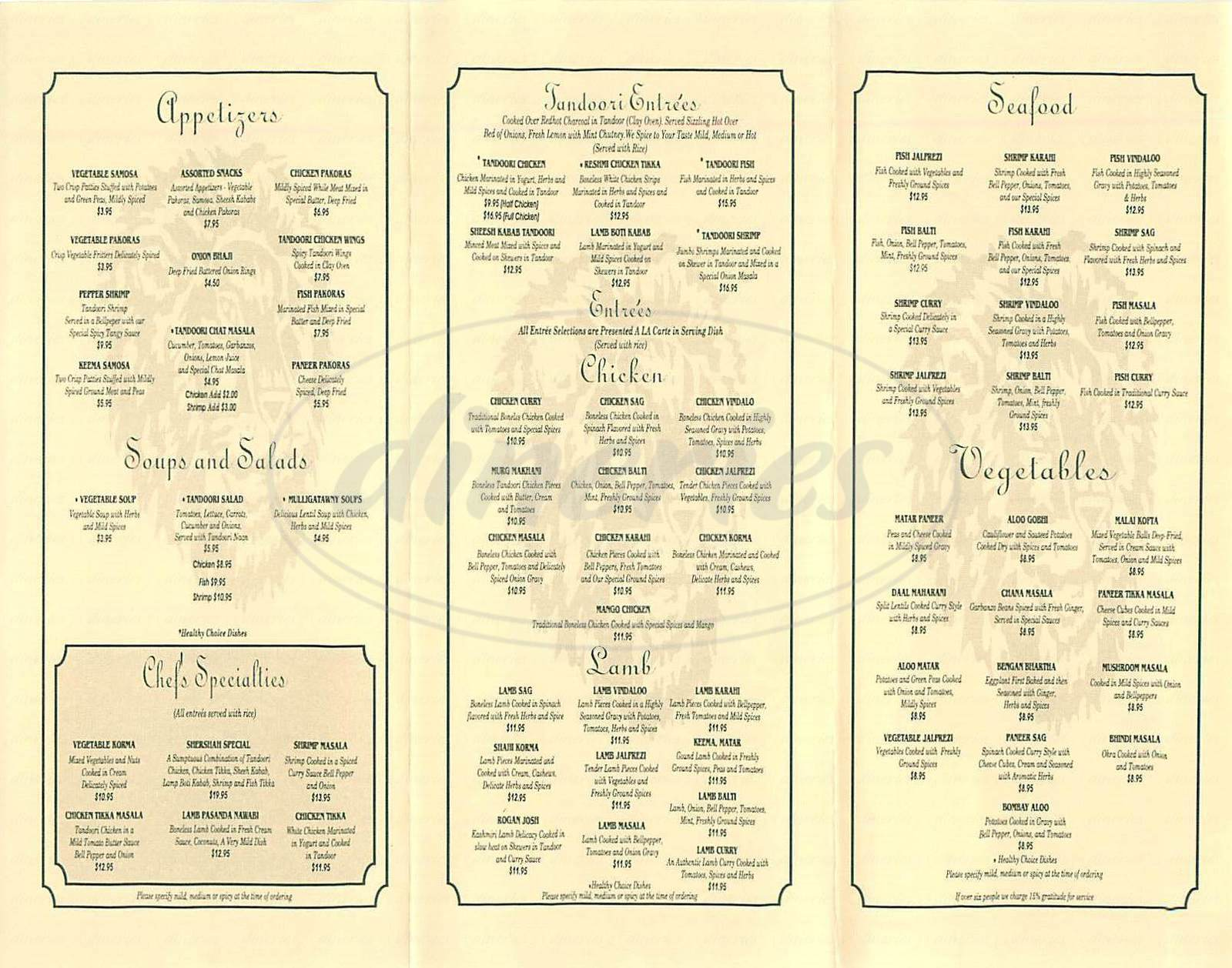 menu for Shershah Cuisine of India