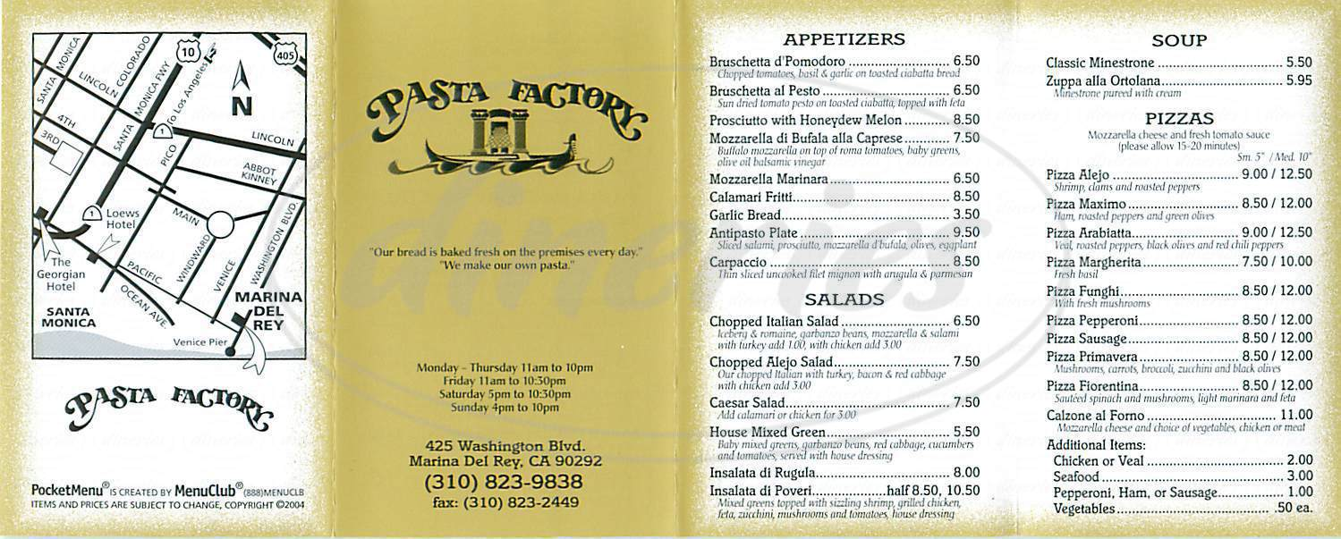 menu for Pasta Factory