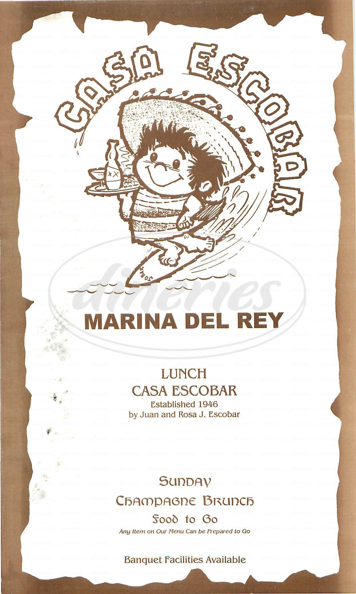 menu for Casa Escobar