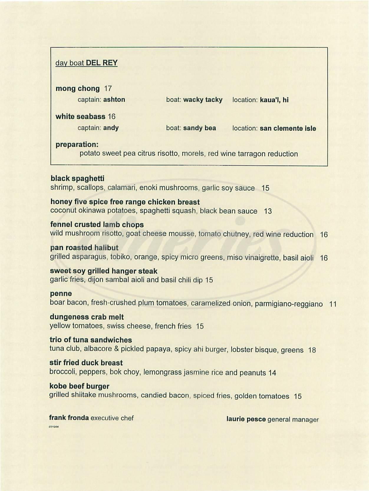 menu for Café del Rey
