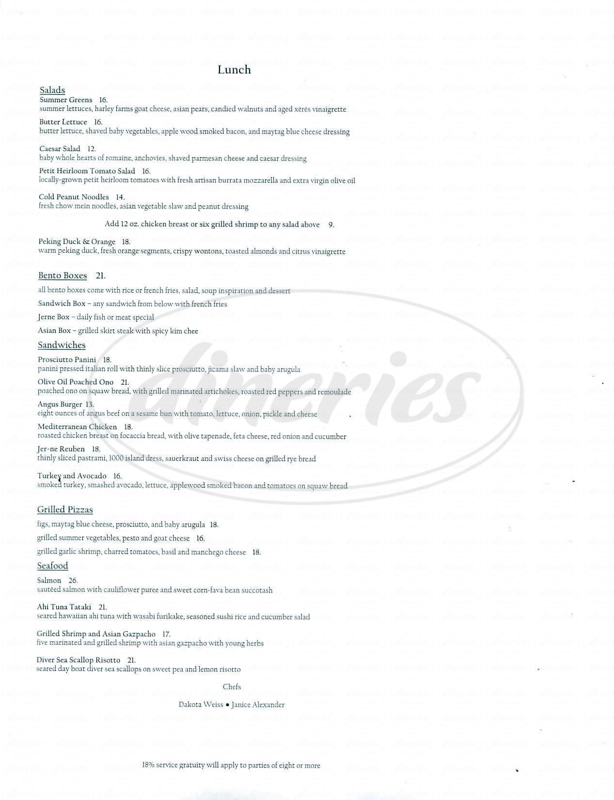 menu for Jer-ne Restaurant