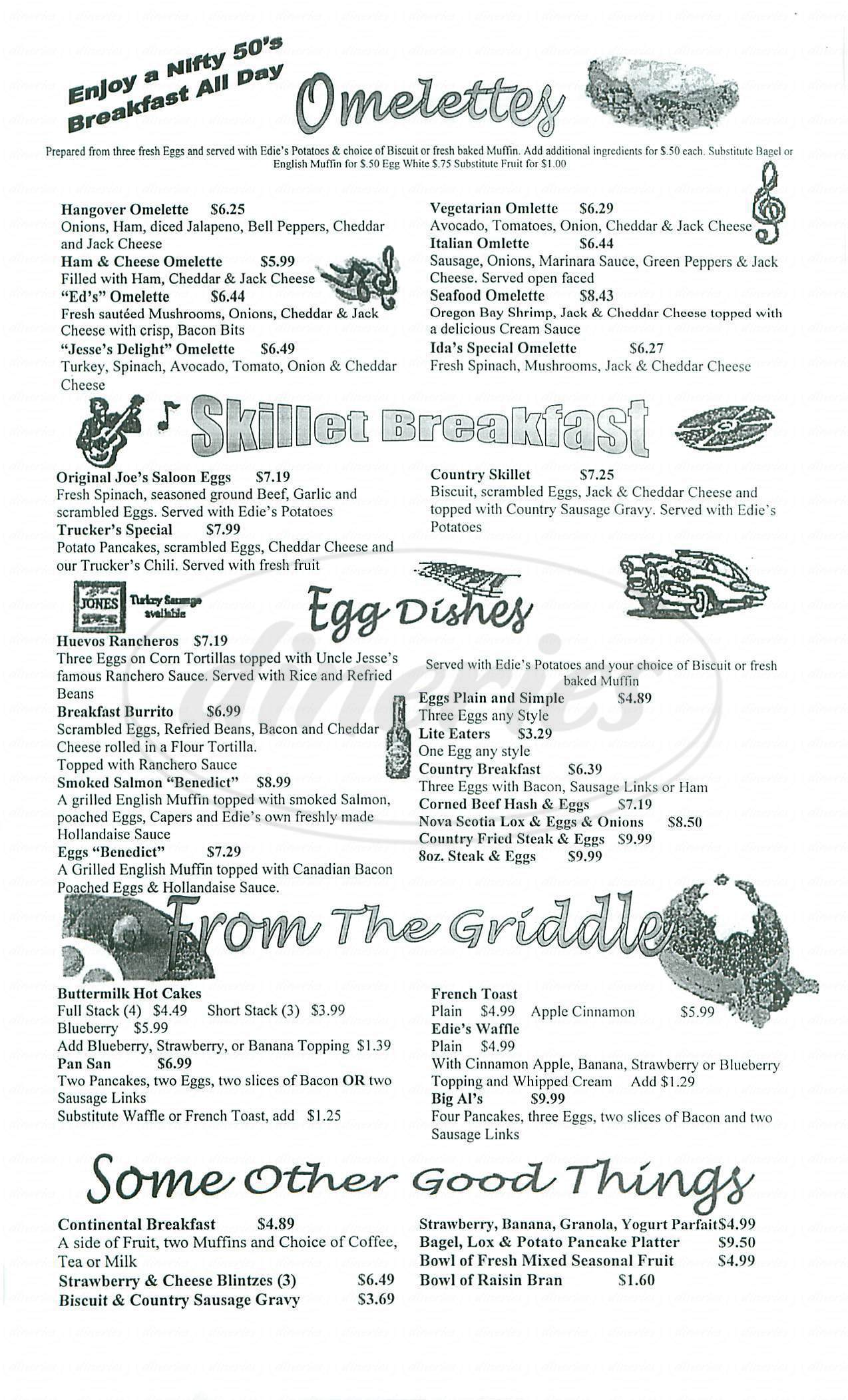 menu for Edies Diner