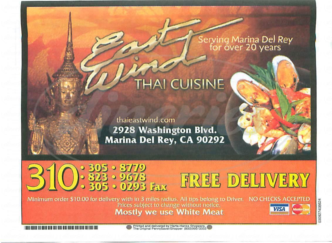 menu for East Wind Restaurant