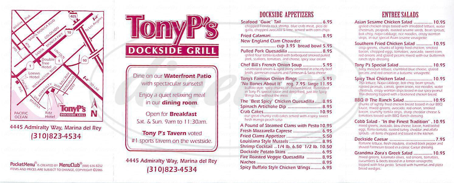 menu for Tony P's Dockside Grill