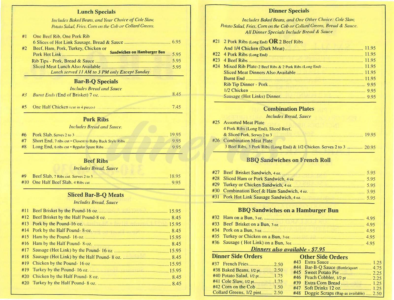 menu for Bennys Bar-B-Q