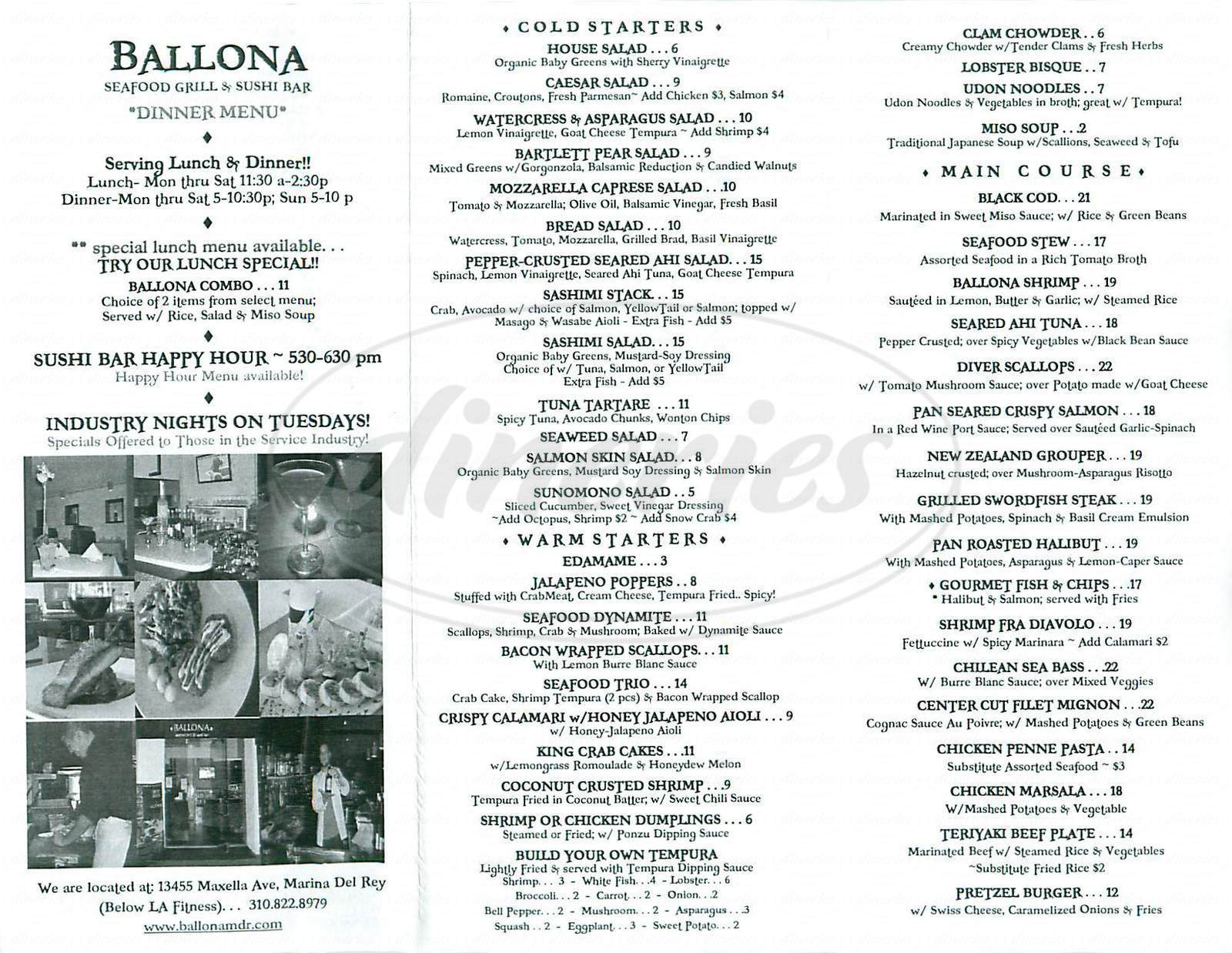 menu for Ballona Seafood Grill & Sushi