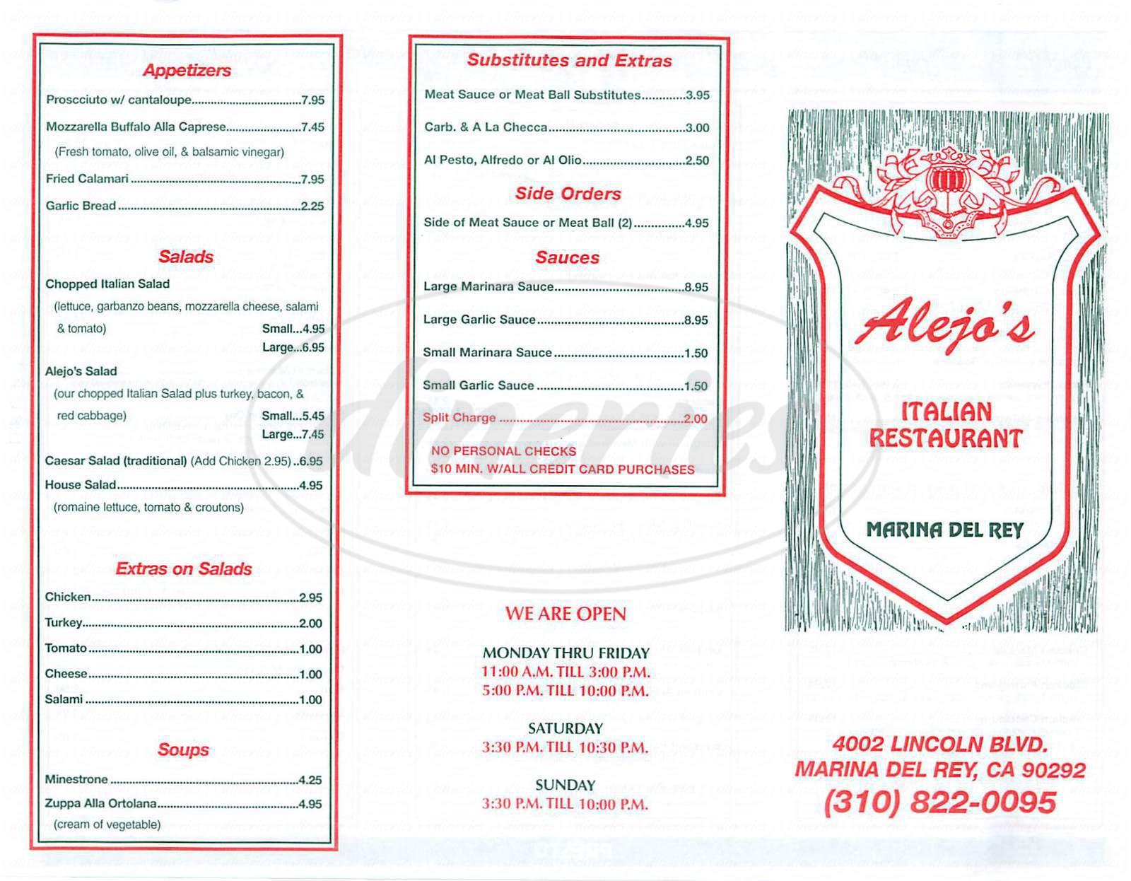 menu for Alejo's Presto Trattoria Italia