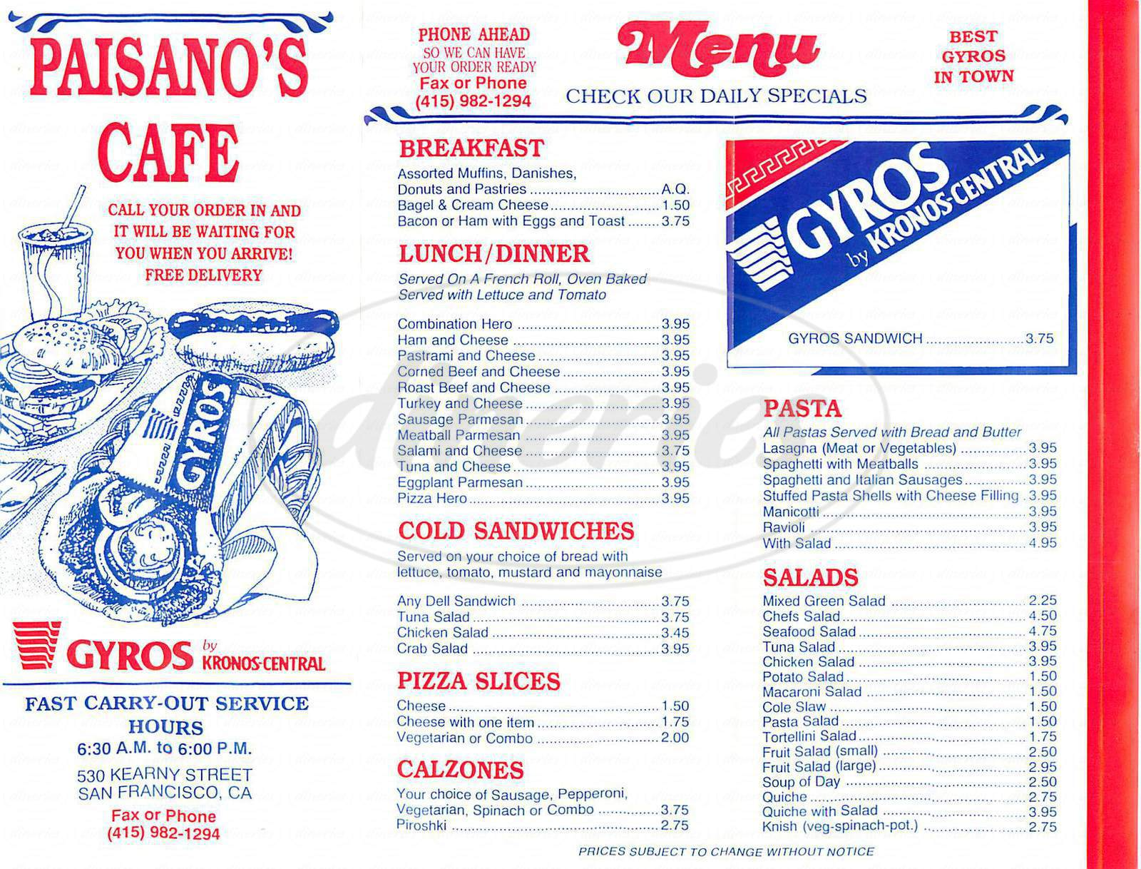 menu for Paisanos Cafe
