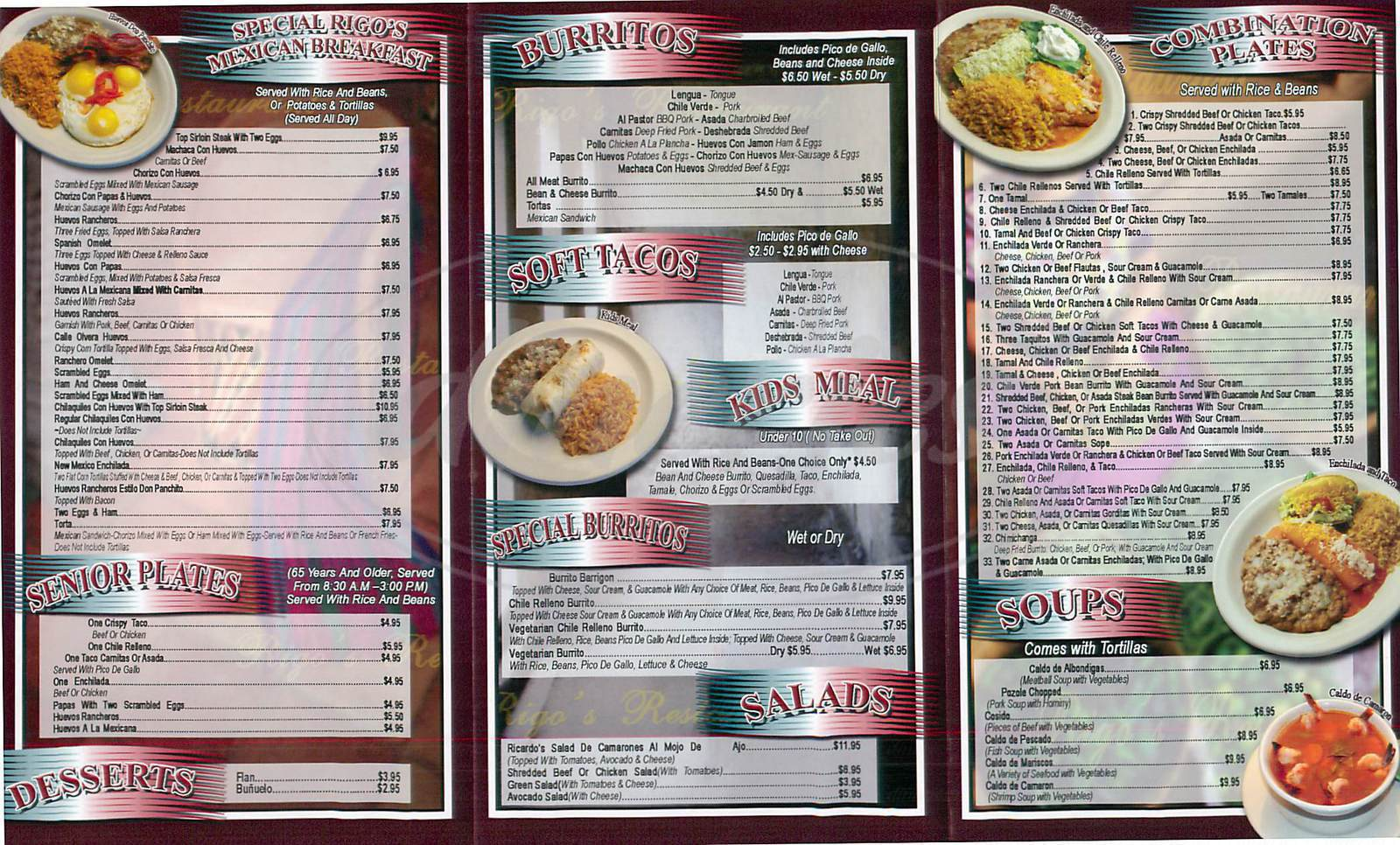 menu for Rigos Mexican Restaurant