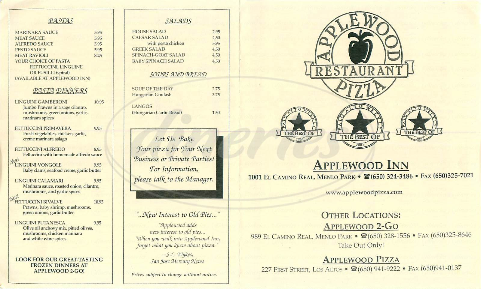 menu for Applewood Inn & Pizza