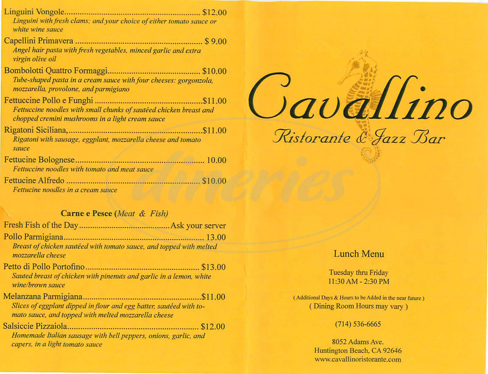 menu for Cavallino Ristorante