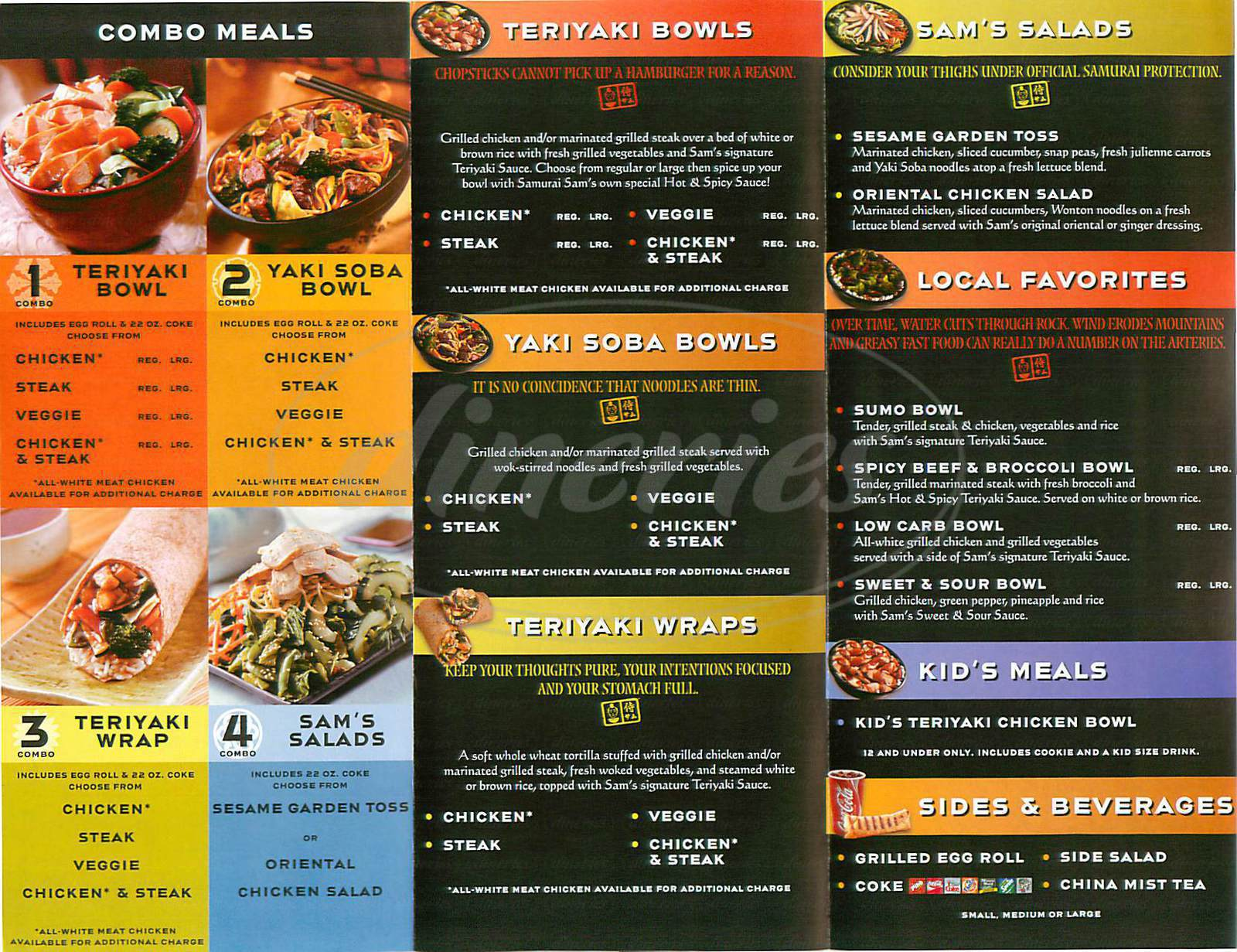 menu for Samurai Sams Teriyaki Grill
