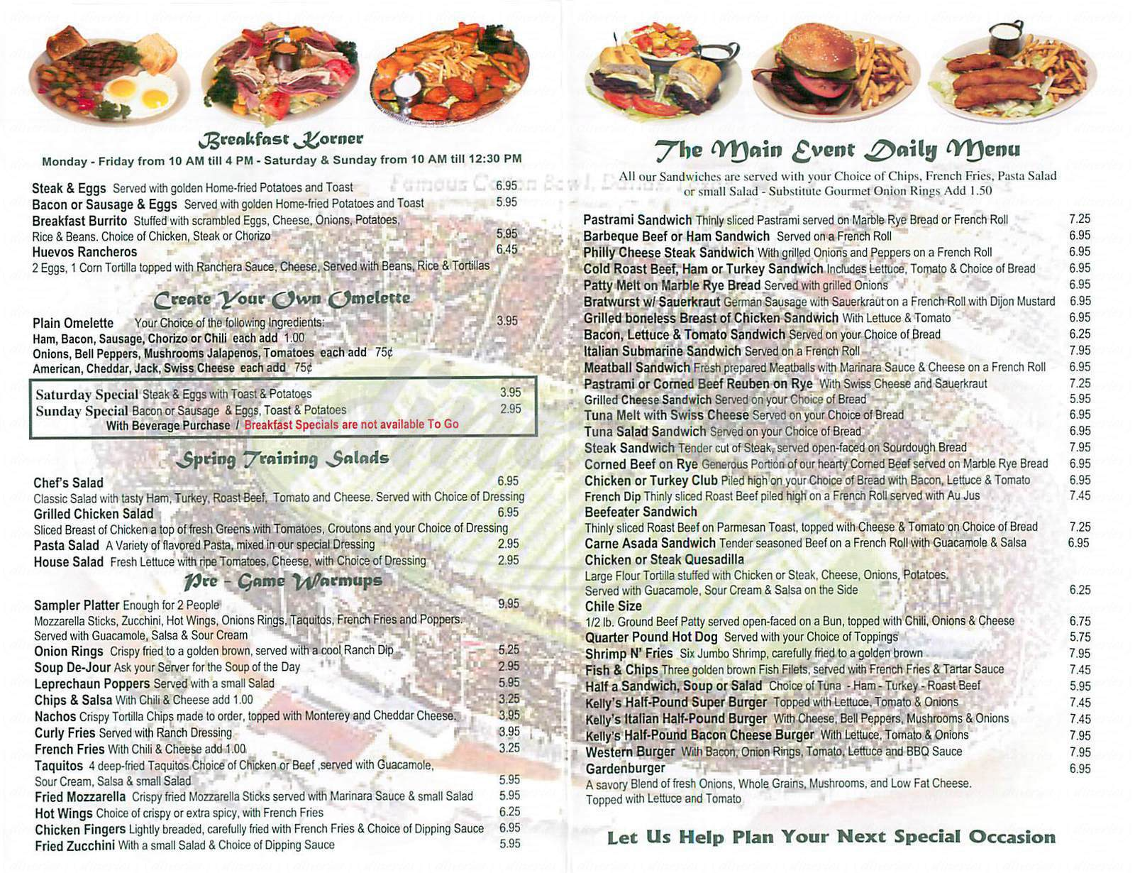menu for Kelly's Korner Tavern