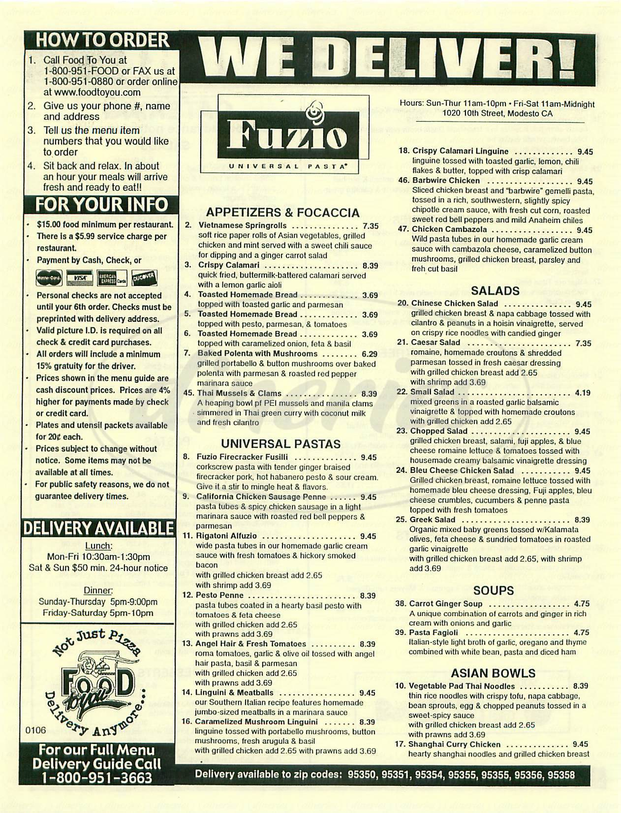 menu for Fuzio Universal Pasta