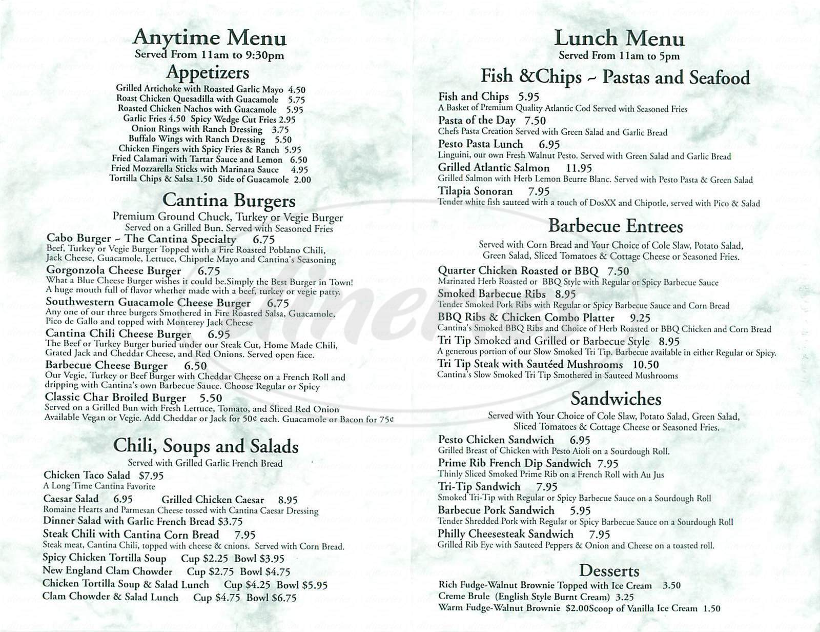 menu for Cantina del Cabo