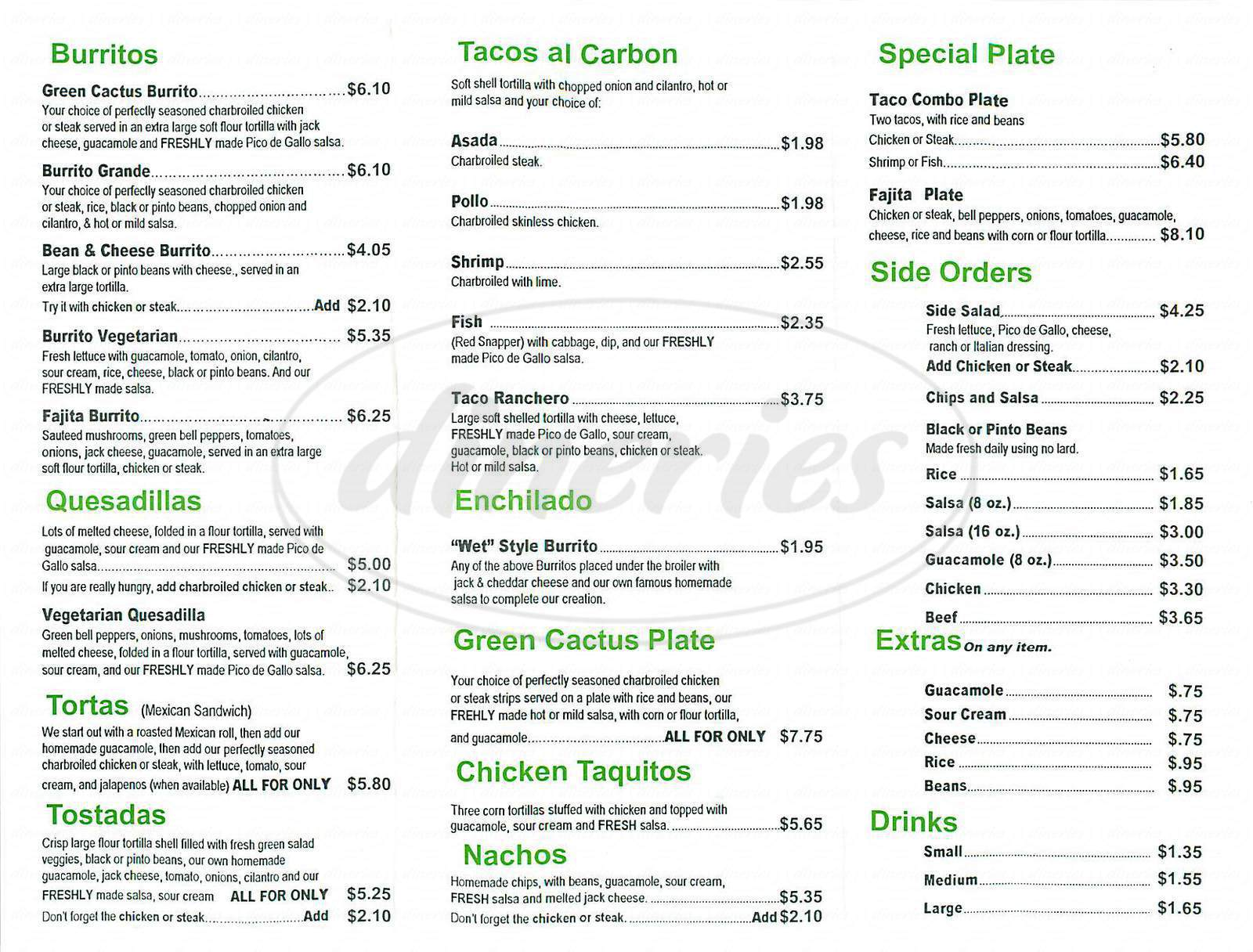 menu for Cactus Fresh Mexican Grill