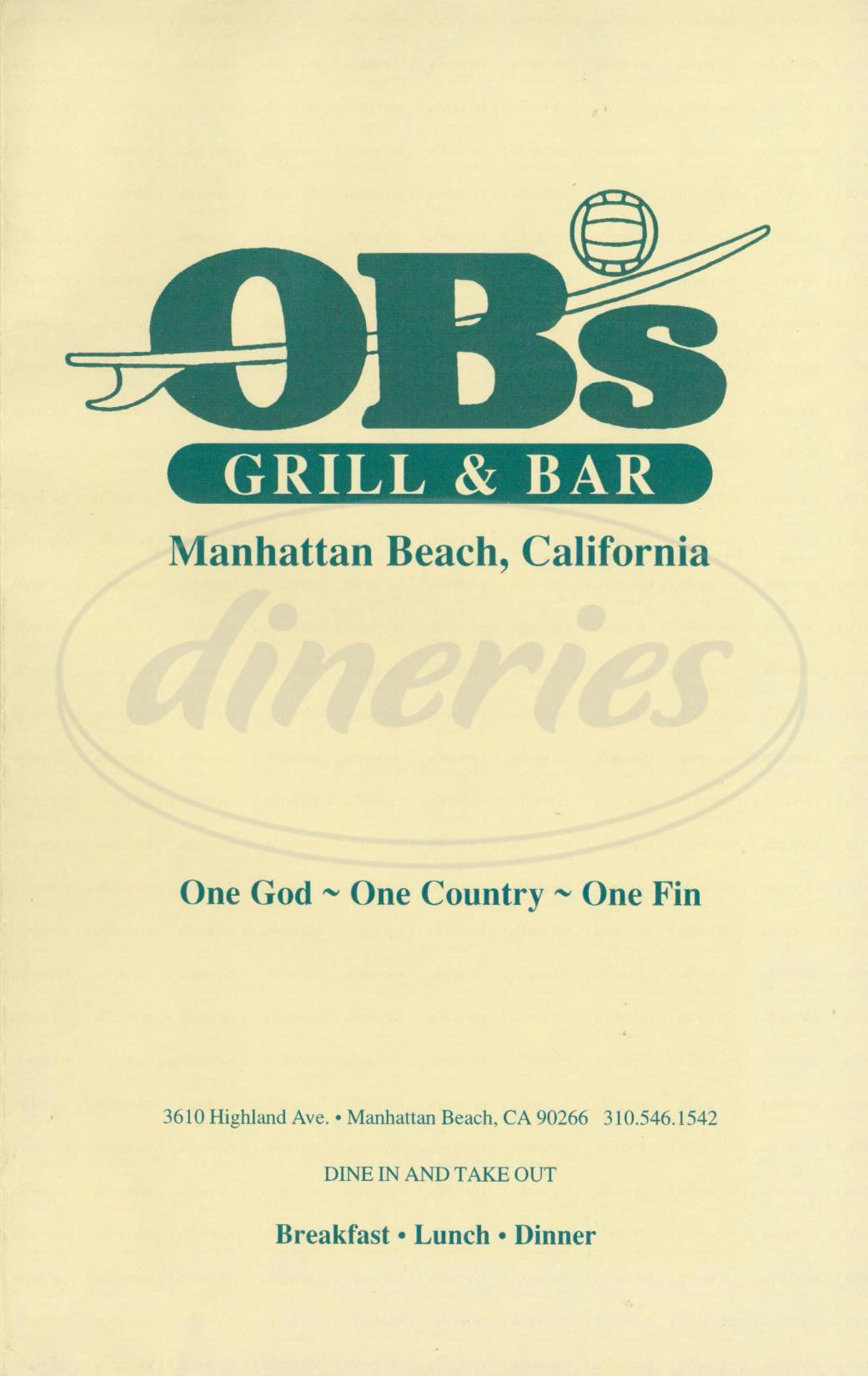 menu for OBs Grill & Bar