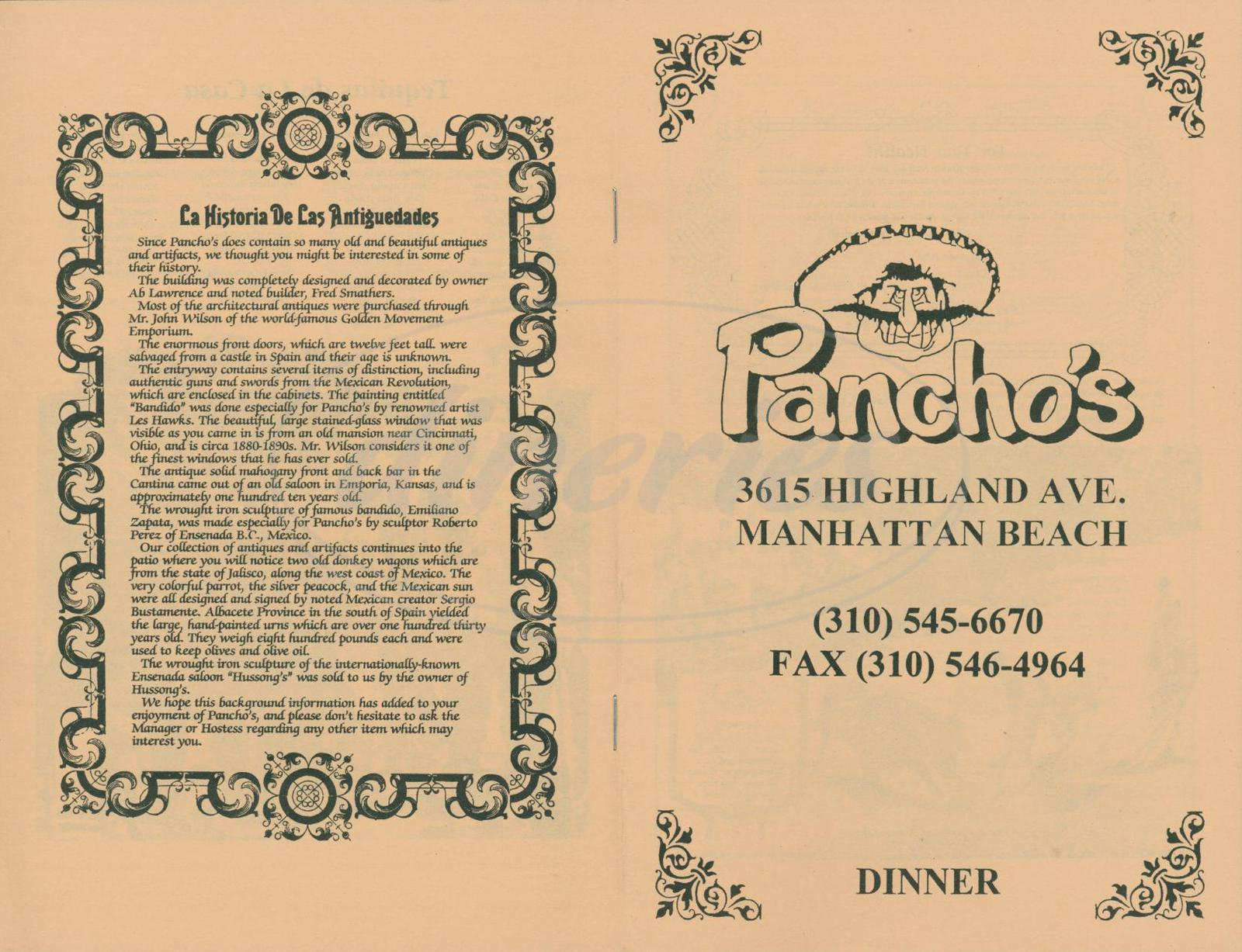 menu for Panchos Restaurant