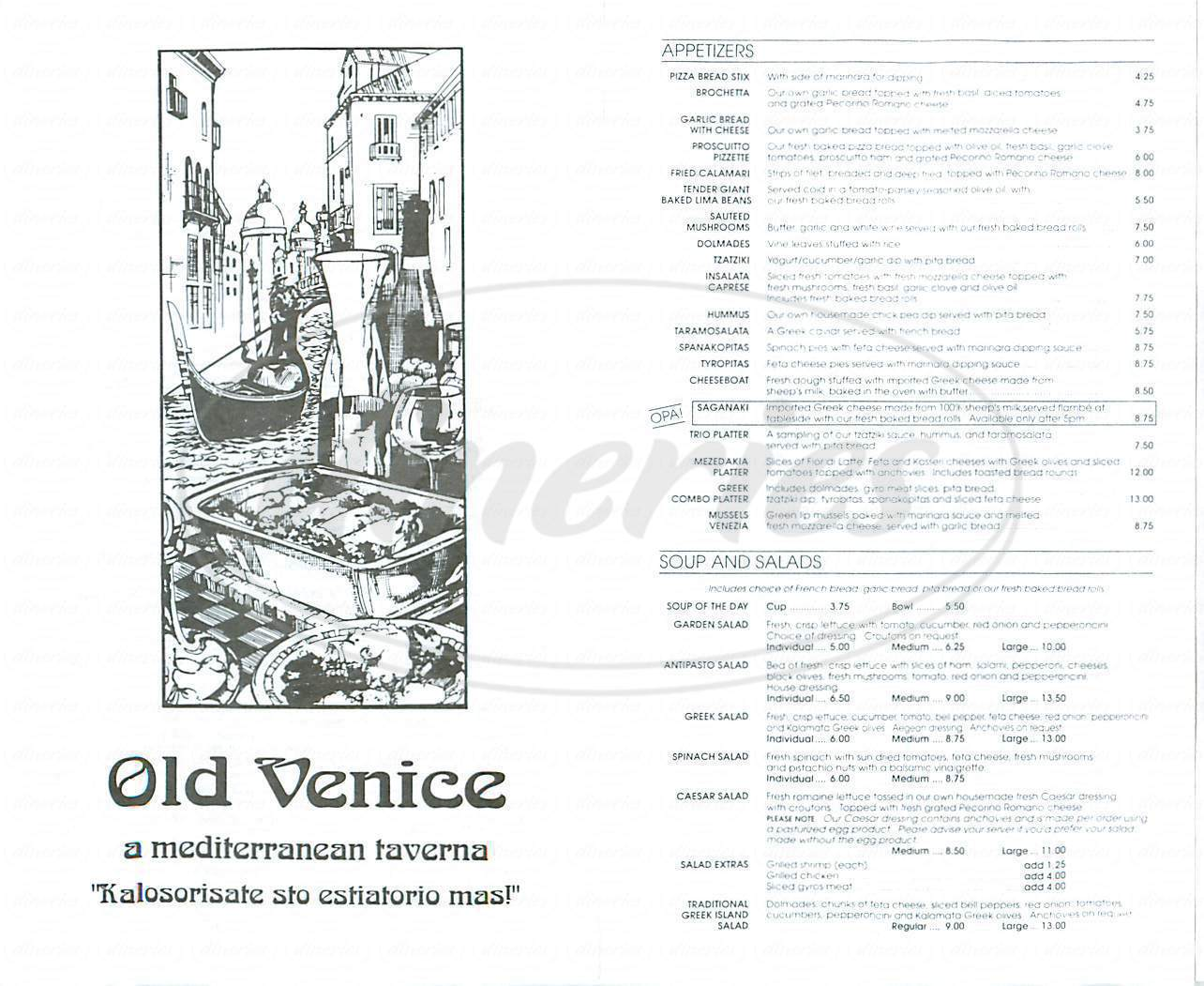 menu for Old Venice