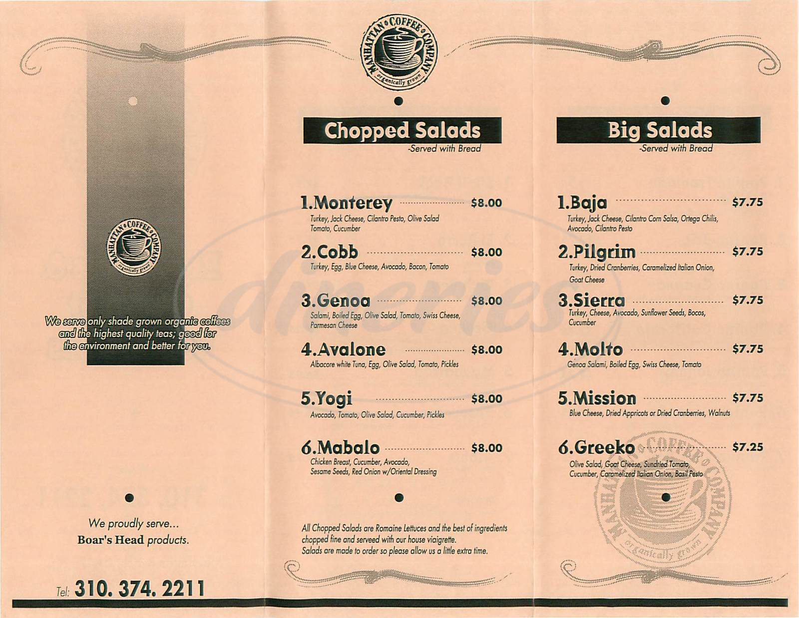 menu for Manhattan Coffee Company