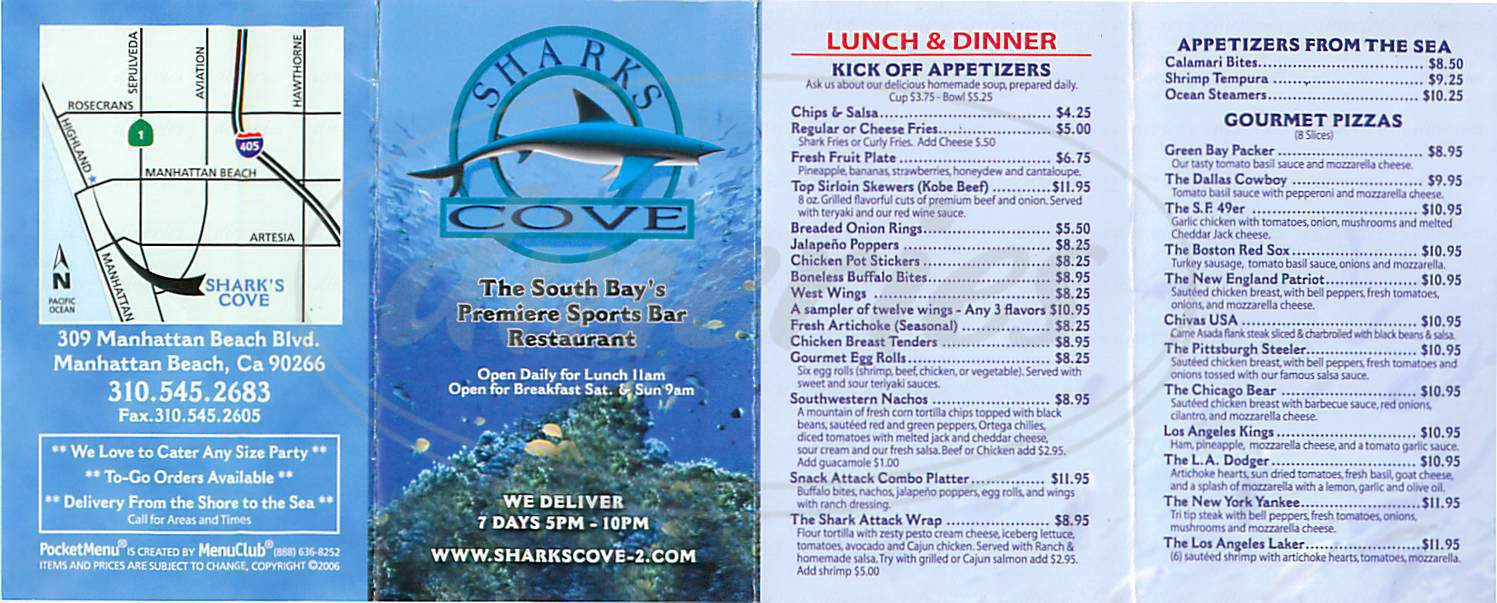 menu for Sharks Cove