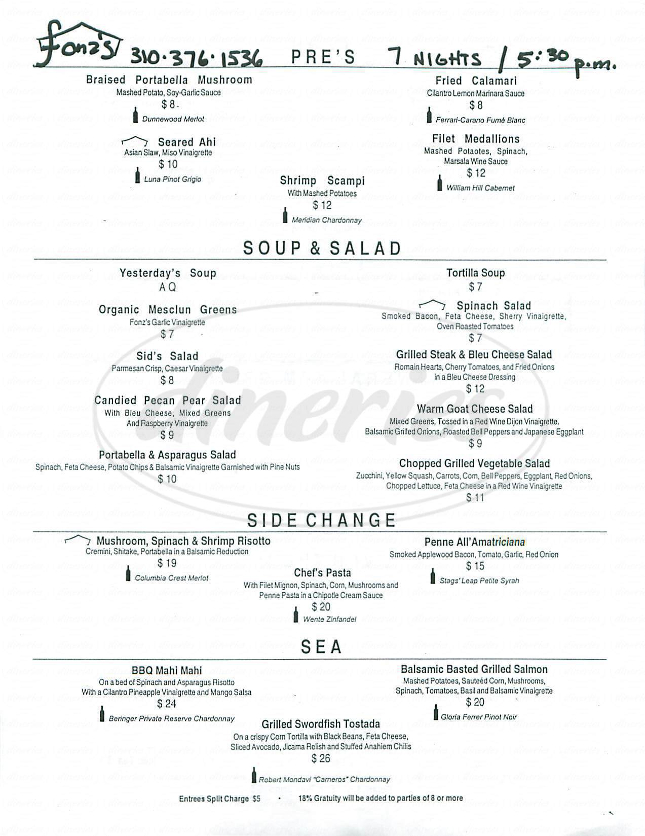 menu for Fonzs Restaurant