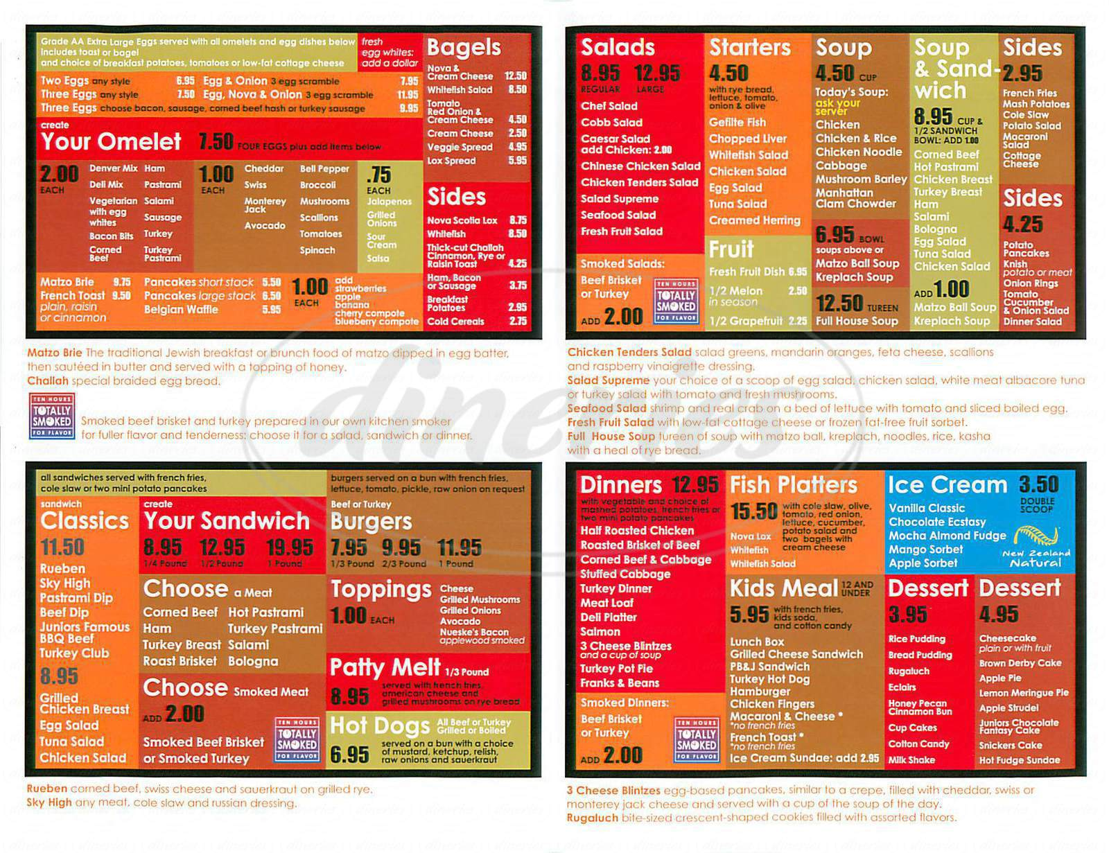 menu for Juniors Deli Boys