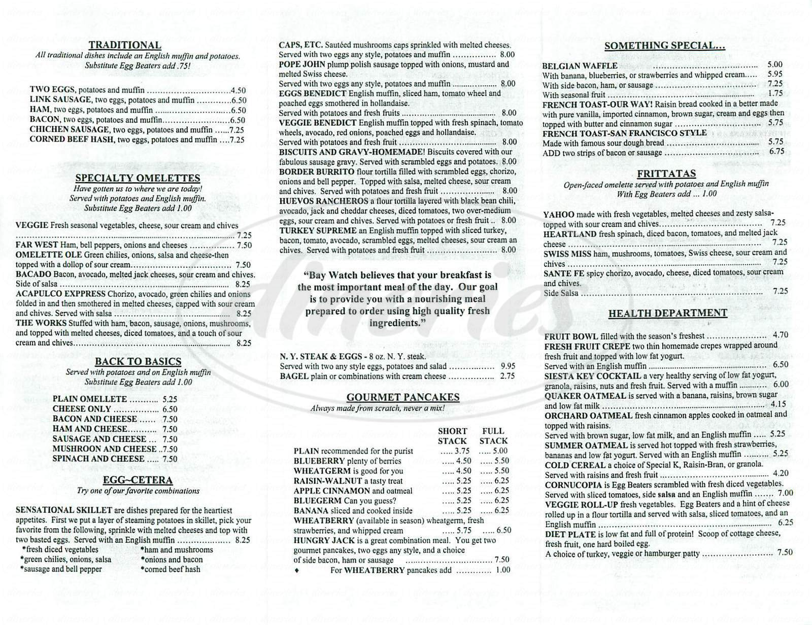 menu for Bay Watch