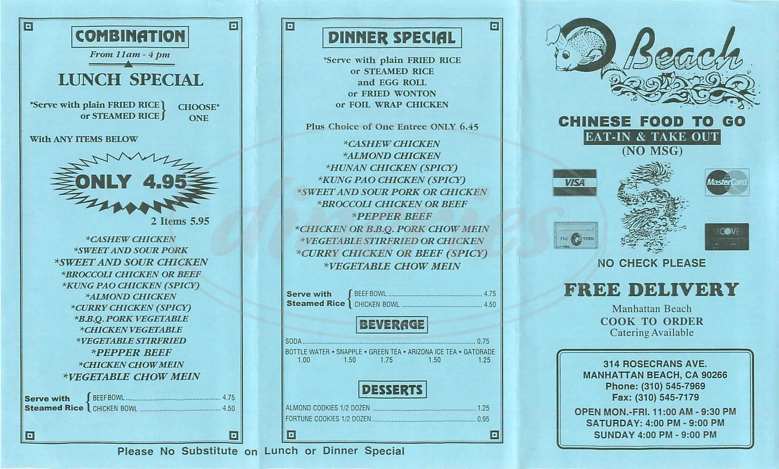 menu for Beach Chinese Food to Go