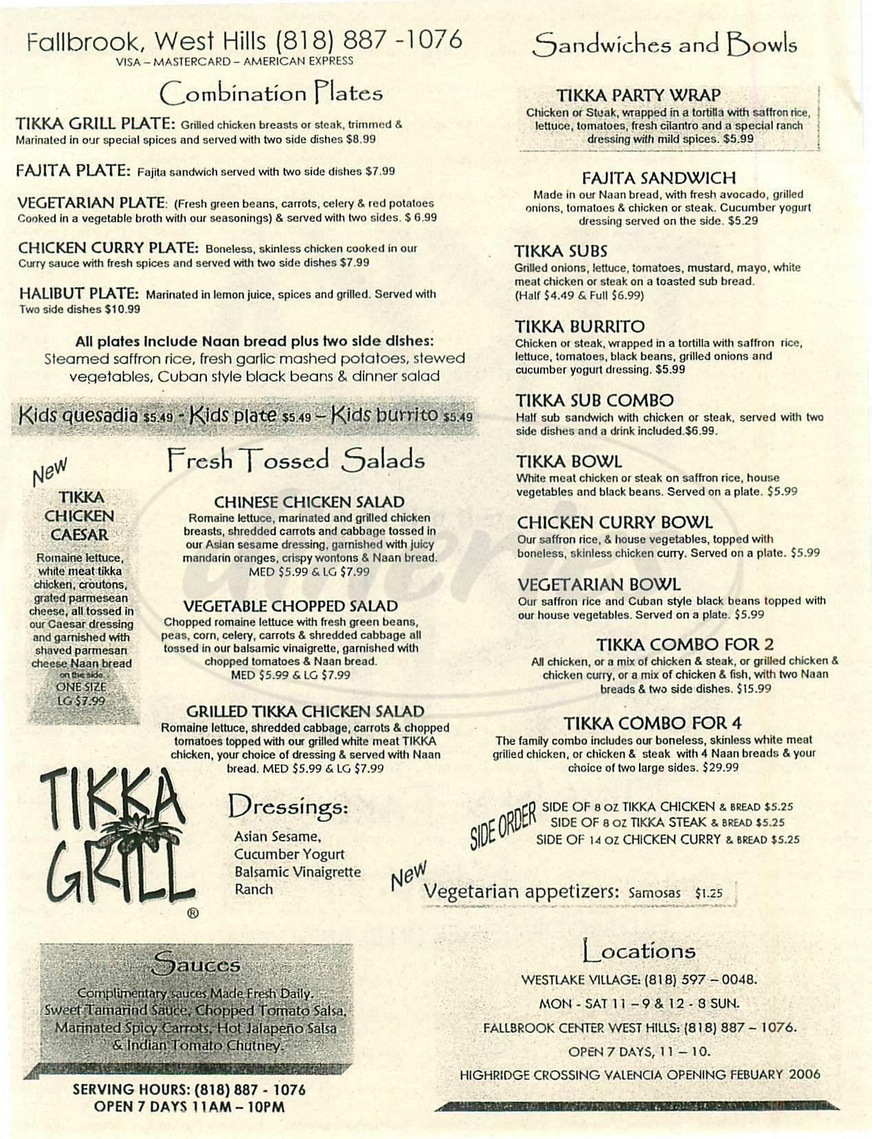 menu for Tikka Grill