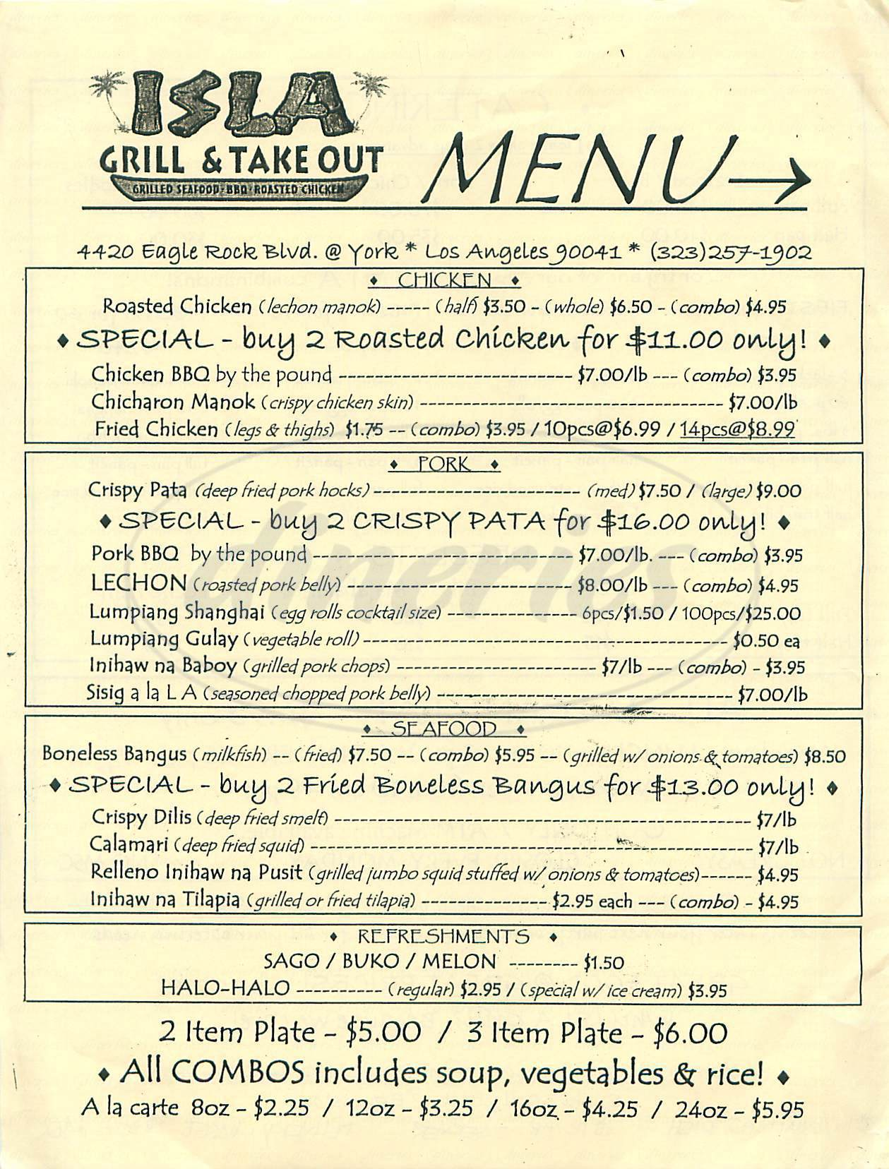 menu for Isla Grill