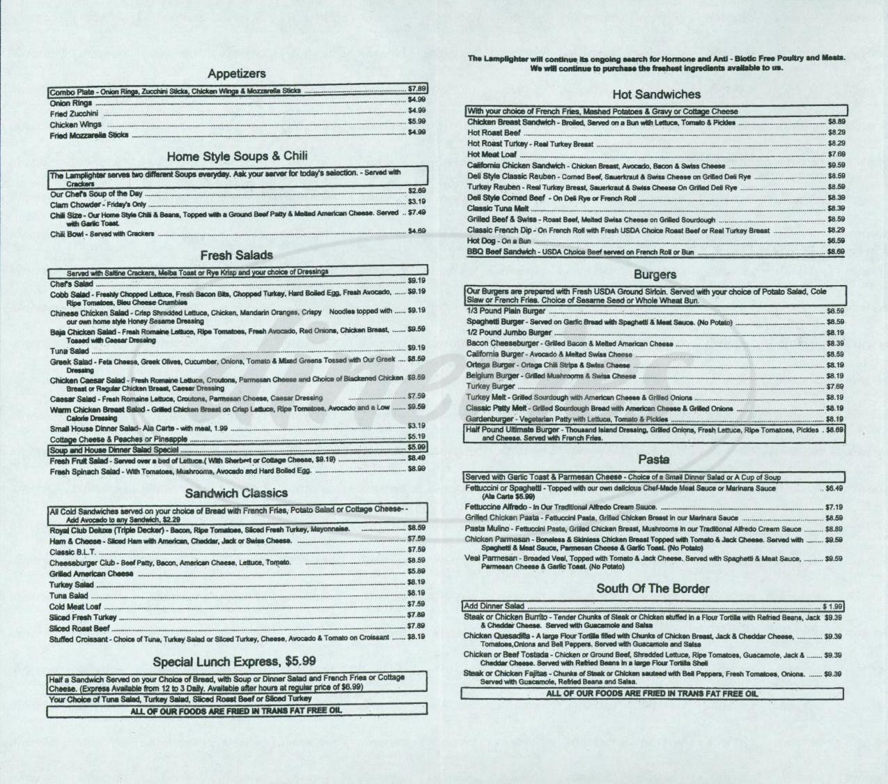 menu for The Lamplighter Restaurant