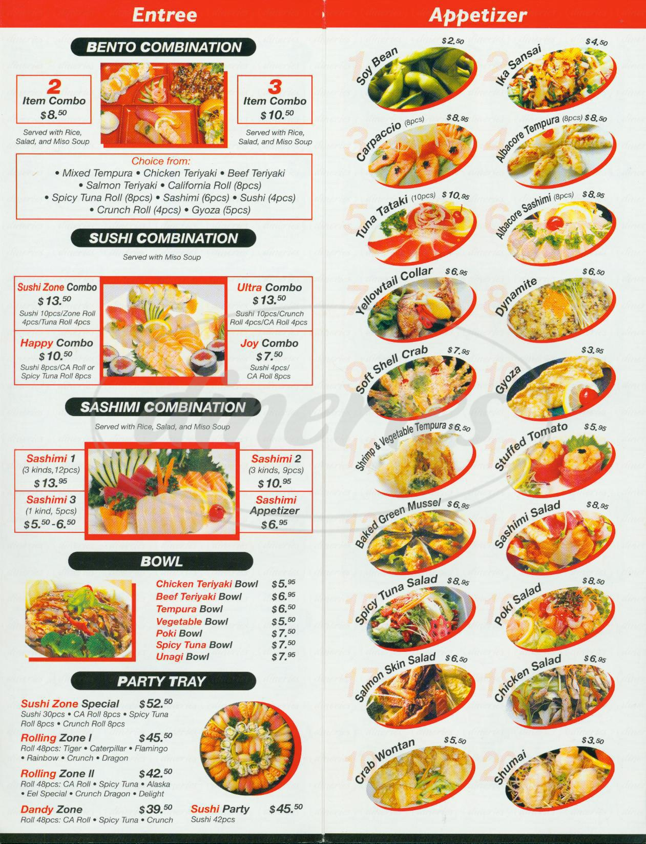menu for Sushi Zone