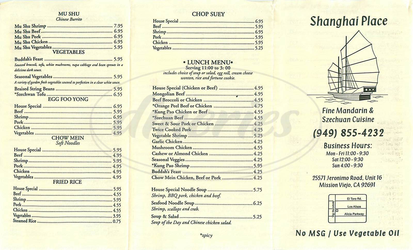menu for Shangai Place