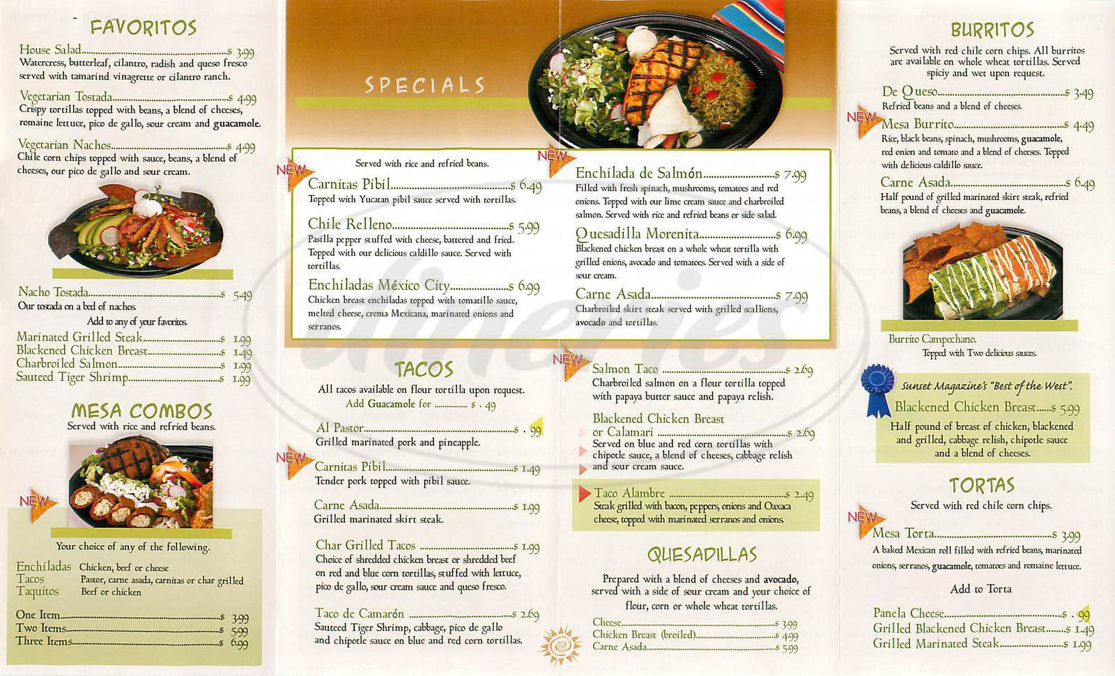 menu for Taco Mesa