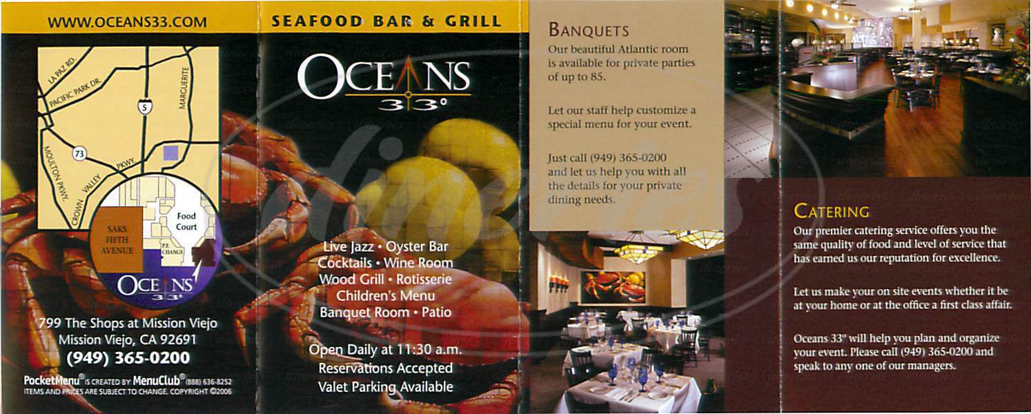 menu for Oceans 33