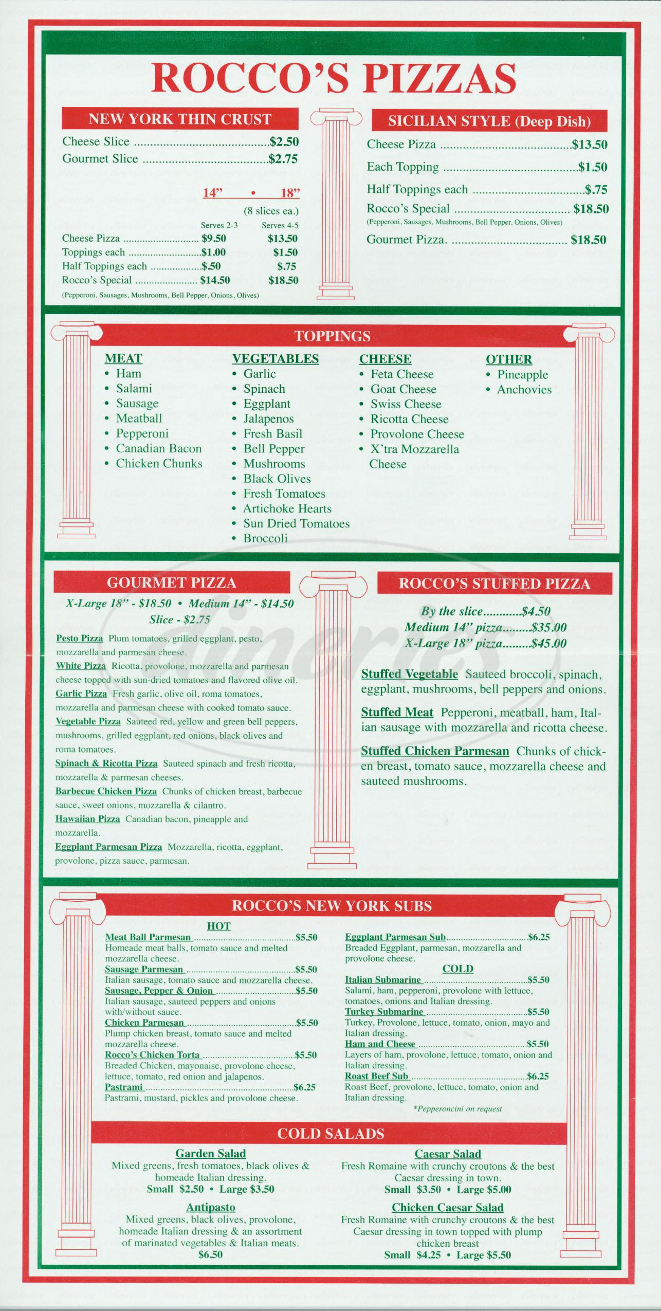 menu for Roccos Pizzeria
