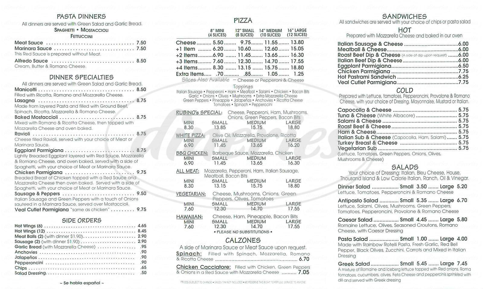 menu for Rubinos Pizza