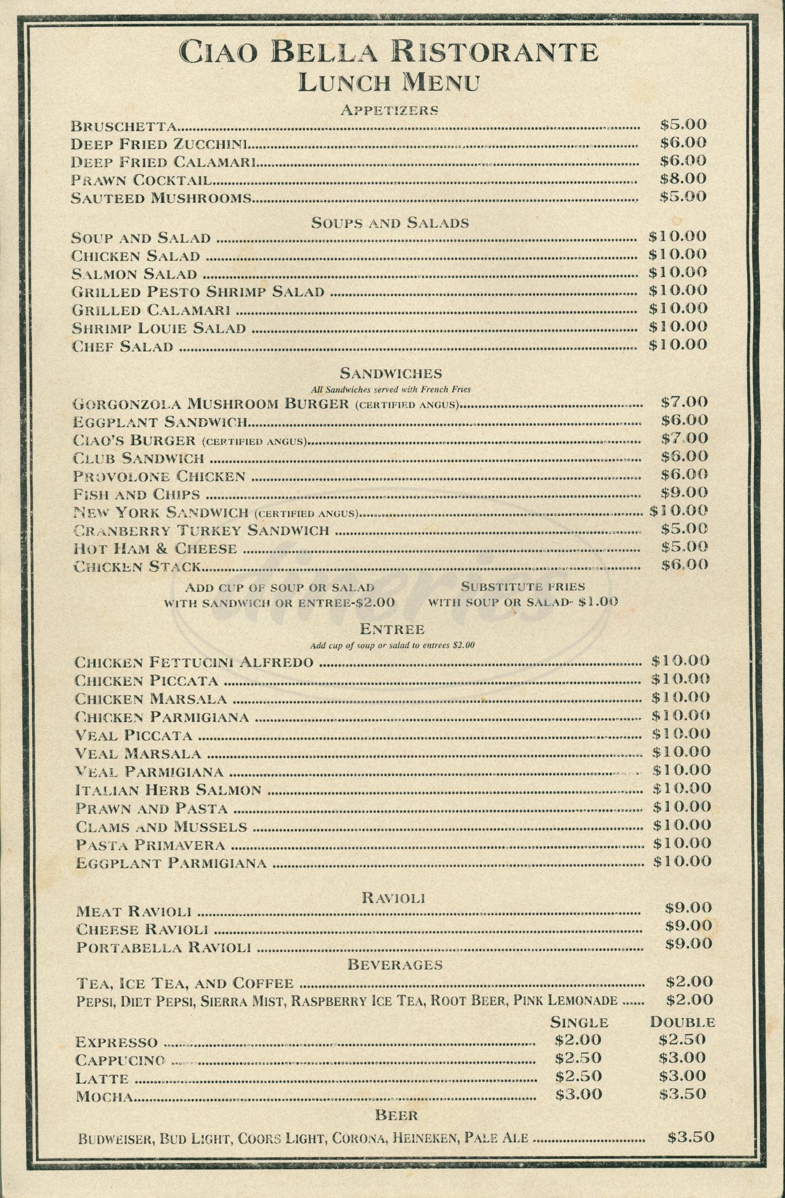 menu for Ciao Bella Ristorante